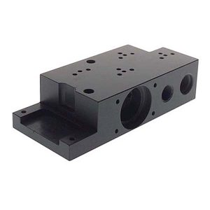 CNC milling block with black anodizing